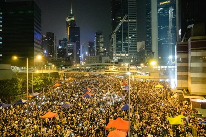 För ett år sedan i Hongkongs centrum.